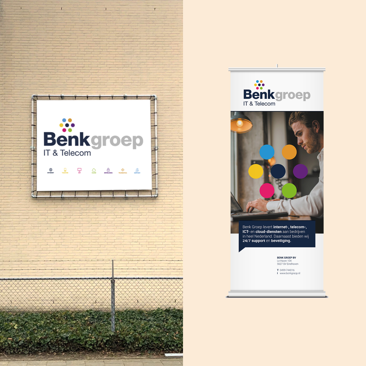 Spandoek en roll-up banner Benk Groep - creative digital agency Puntkomma Nijmegen