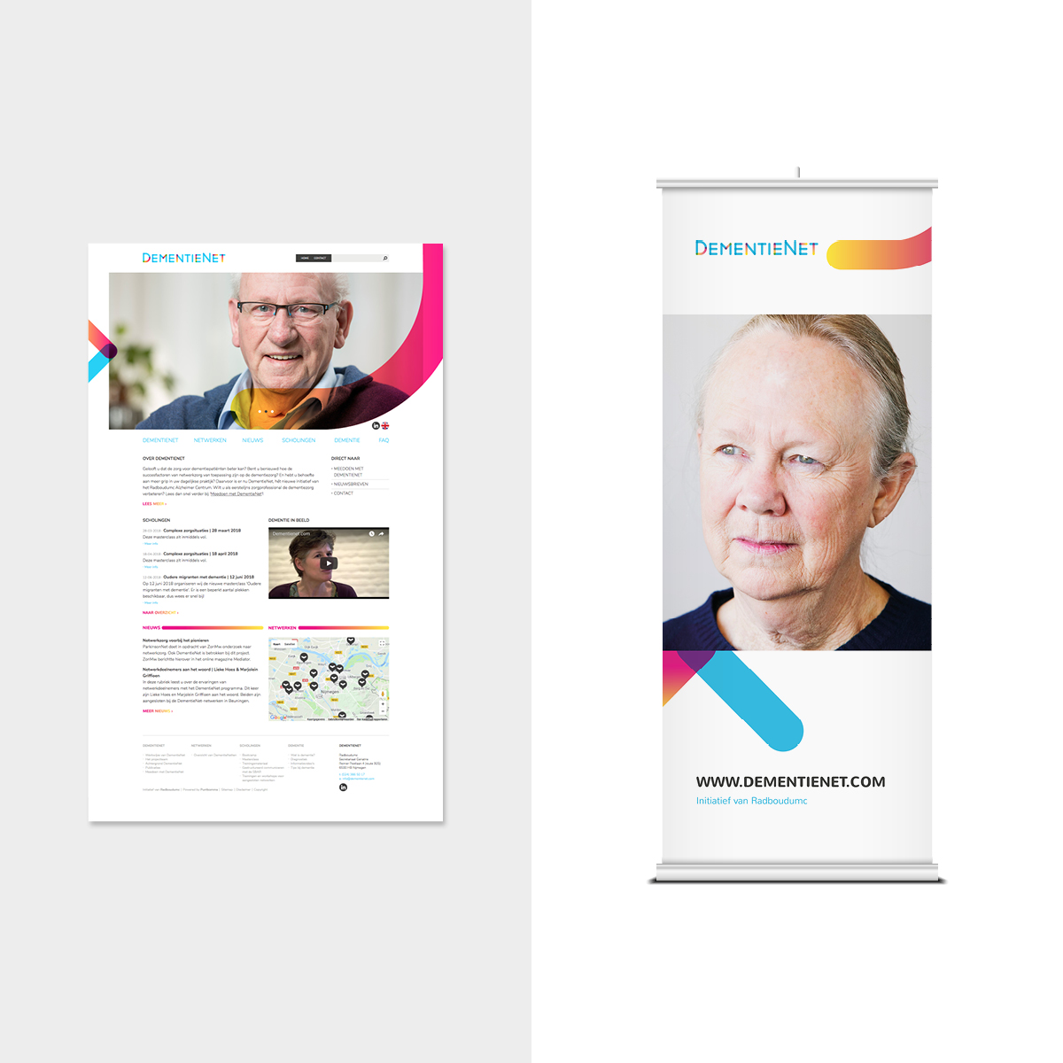 Dementienet | Screens en Roll-up banner | Creative Digital Agency Puntkomma Nijmegen