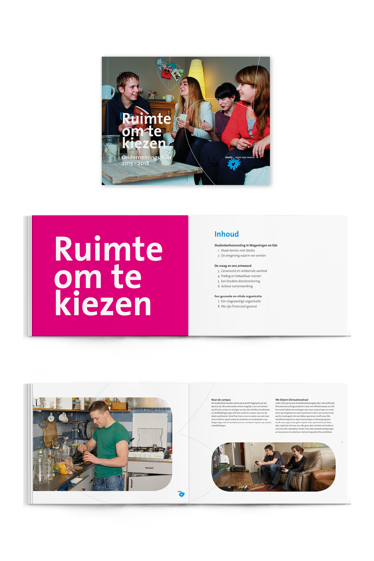 Brochure restyling corporate identity Idealis - Communicatiebureau Puntkomma Nijmegen