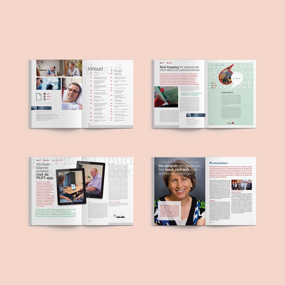 Spread restyling corporate magazine ParkinsonNet - Communicatiebureau Puntkomma Nijmegen