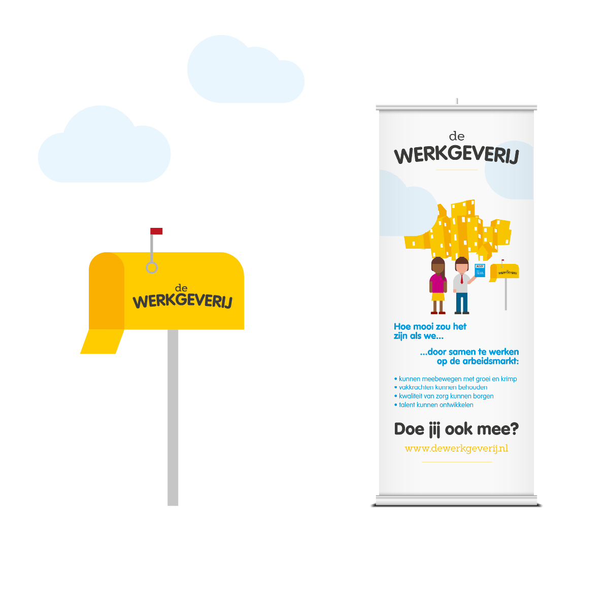 De Werkgeverij | Illustratie en Roll-up banner | Creative Digital Agency Puntkomma Nijmegen